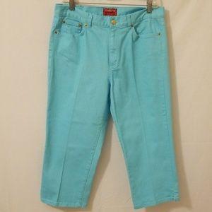 Chaps Denim Capri Jeans  Turquoise color Sz 8